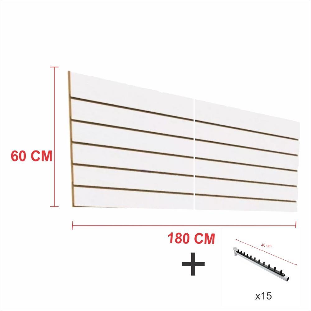 Expositor canaletado branco alt 60 cm comp 180 cm mais 15 ganchos rt 40 cm para roupas