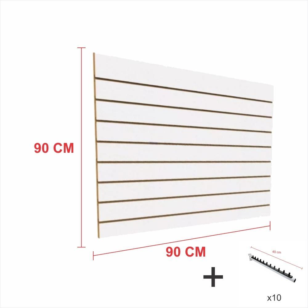 Kit Painel canaletado branco alt 90 cm comp 90 cm mais 10 ganchos rt 40 cm para roupas