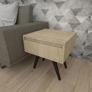 Mesa lateral com gaveta em mdf amadeirado claro com 4 pés inclinados em madeira maciça cor tabaco