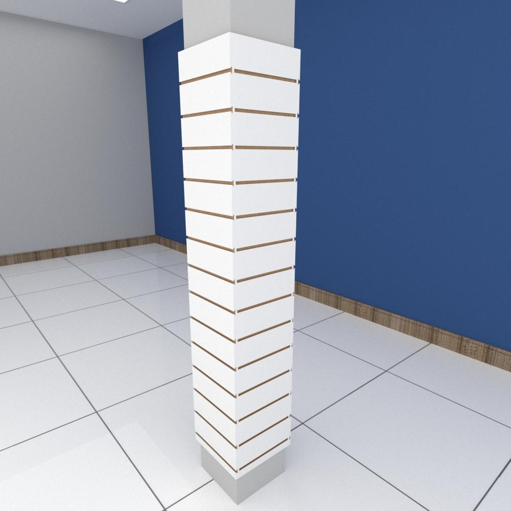 Kit 4 Painel canaletado para pilar branco 2 peças 34(L)x180(A)cm + 2 peças 30(L)x180(A)cm