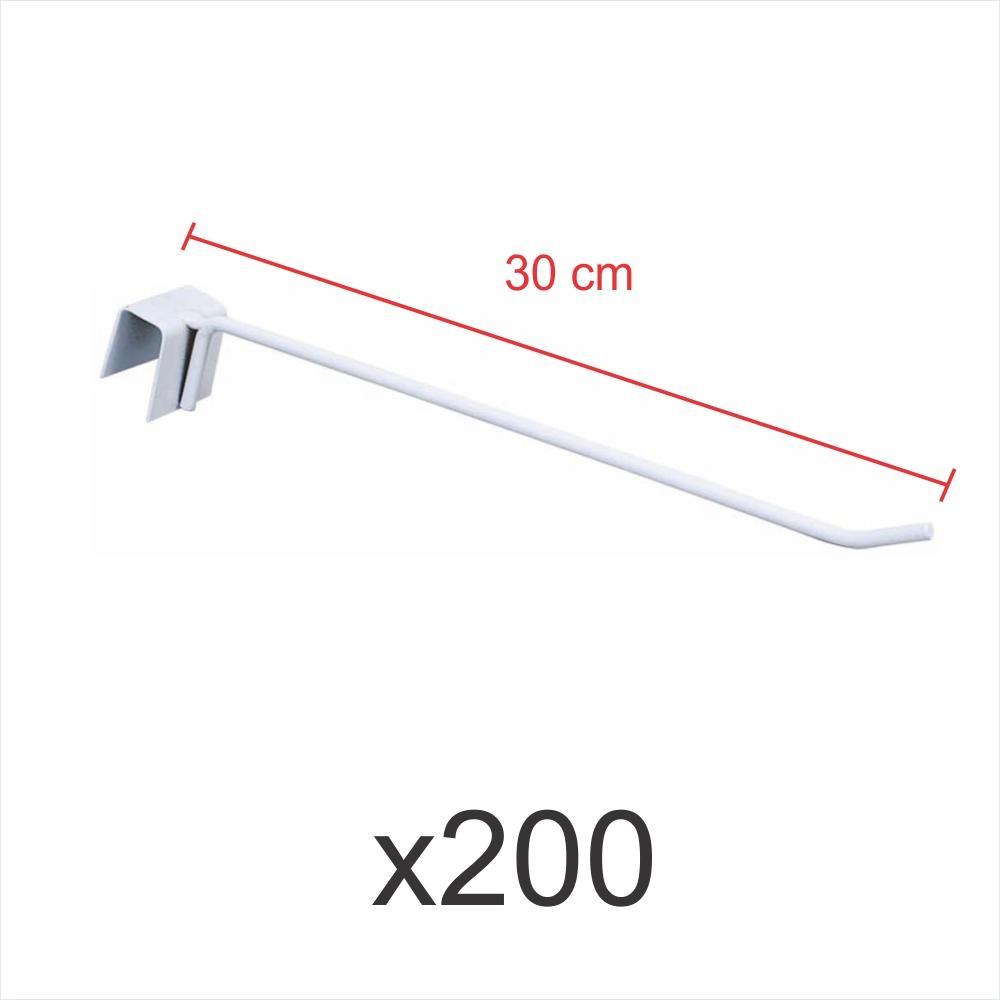 Pacote com 200 ganchos 4mm branco de 30 cm para gondola, para porta gancheira 20x20 e 20x40