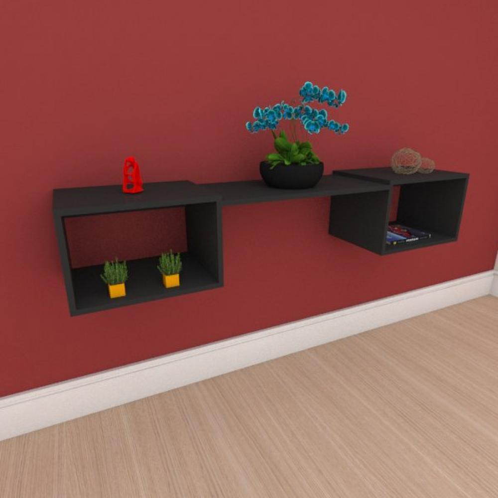 Aparador minimalista moderno com nichos em mdf preto