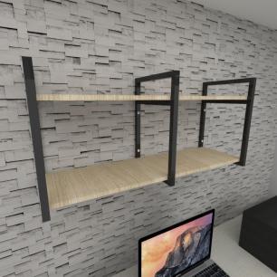 Prateleira industrial para escritório aço cor preto mdf 30 cm cor amadeirado claro modelo ind22aces