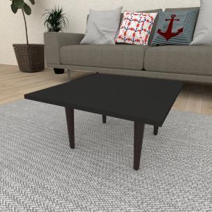 Mesa de Centro quadrada em mdf preto com 4 pés retos em madeira maciça cor tabaco