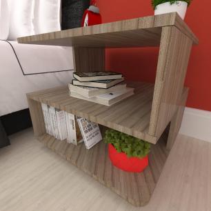 Mesa lateral sofá, mesa de canto Design, em mdf Amadeirado escuro