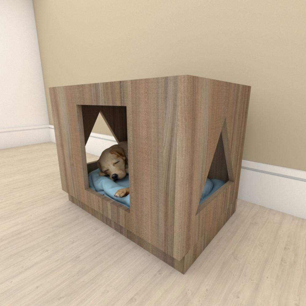 Mesa de cabeceira bercinho para cachorro em mdf Amadeirado