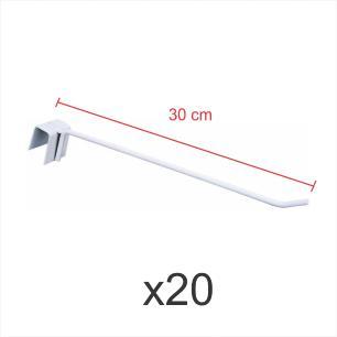 Pacote com 20 ganchos 4mm branco de 30 cm para gondola, para porta gancheira 20x20 e 20x40