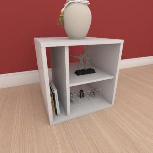 Kit com 2 Mesa de cabeceira slim com nichos em mdf cinza