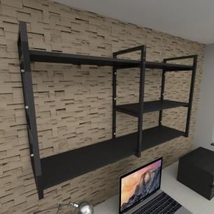 Prateleira industrial para escritório aço cor preto prateleiras 30cm cor preto modelo ind14pes
