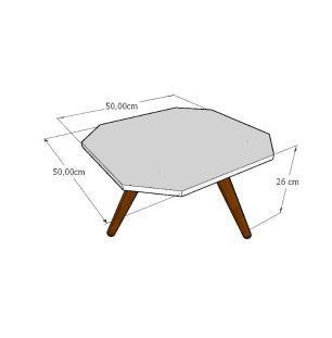 Mesa de Centro octagonal em mdf amadeirado claro com 3 pés inclinados em madeira maciça cor mogno