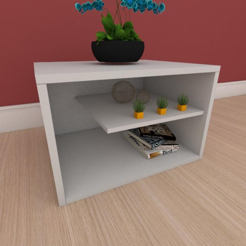 Kit com 2 Mesa de cabeceira com nichos em mdf cinza