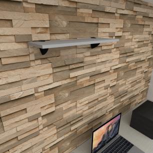 Prateleira para escritório MDF suporte tucano cor cinza 60(C)x20(P)cm modelo pratesc10