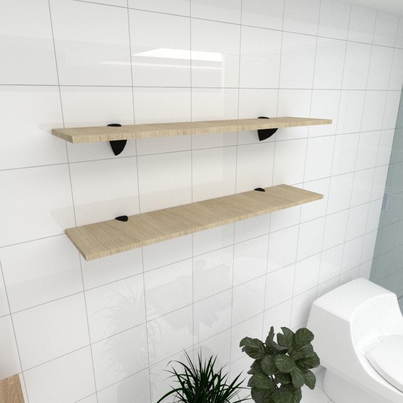 Kit 2 prateleiras para banheiro em MDF suporte tucano amadeirado claro 90x20cm modelo pratbnamc08