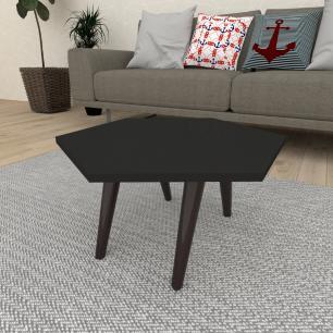 Mesa de Centro hexagonal em mdf preto com 4 pés inclinados em madeira maciça cor tabaco