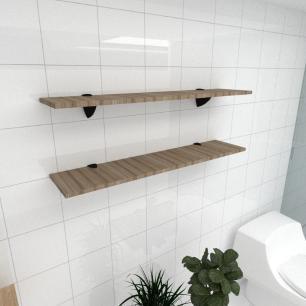 Kit 2 prateleiras para banheiro em MDF suporte tucano amadeirado escuro 90x20cm modelo pratbname08
