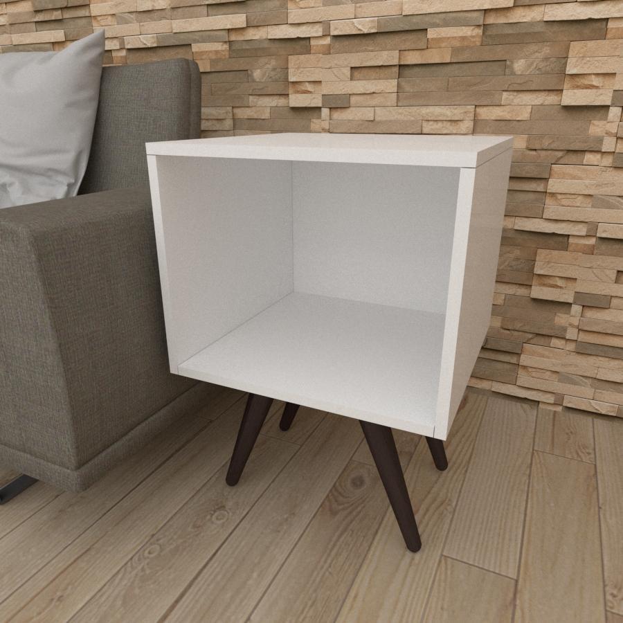 Mesa lateral moderna em mdf branco com 4 pés inclinados em madeira maciça cor tabaco