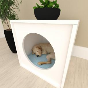 Mesa de cabeceira Casinha caminha cachorro cão mdf Branco