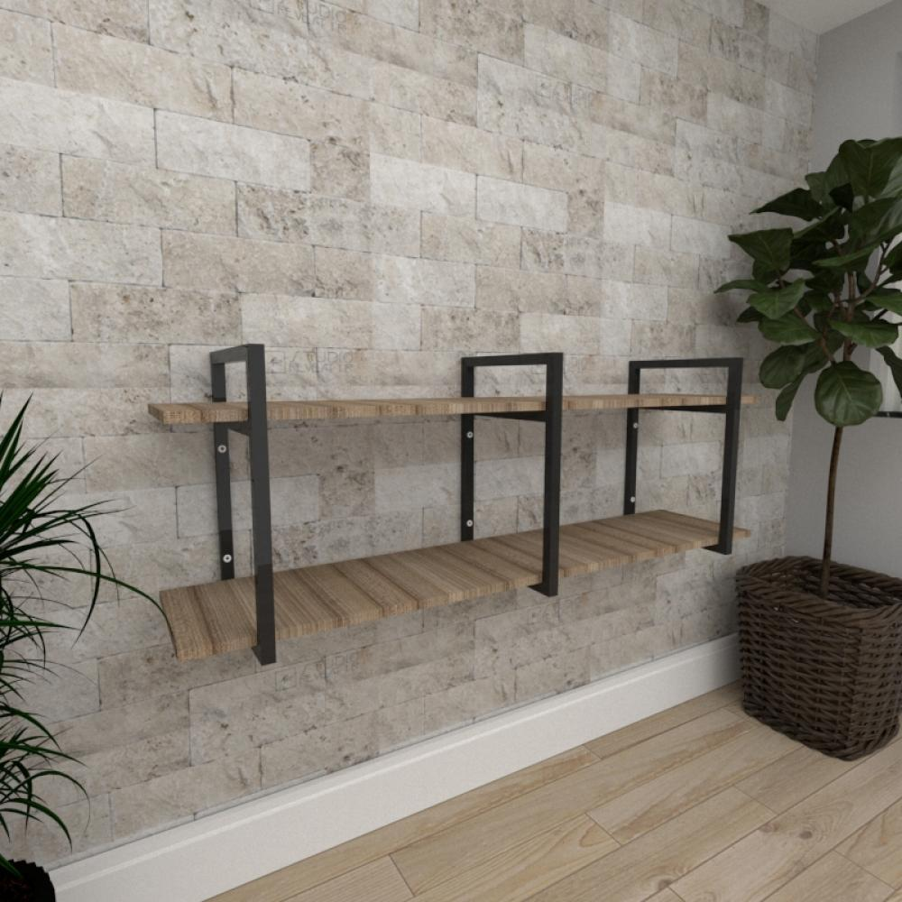 Mini estante industrial para escritório aço cor preto mdf 30cm cor amadeirado escuro mod ind05aeep