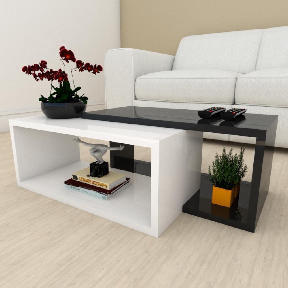 Mesa de centro moderna branco com preto