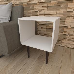 Mesa lateral nicho em mdf branco com 4 pés retos em madeira maciça cor tabaco