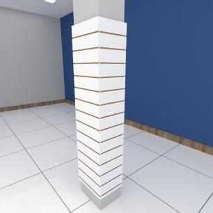 Kit 4 Painel canaletado para pilar branco 2 peças 44(L)x180(A)cm + 2 peças 30(L)x180(A)cm