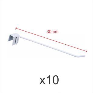 Kit com 10 ganchos 4mm branco de 30 cm para gondola, para porta gancheira 20x20 e 20x40