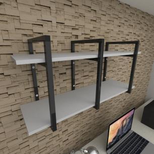 Prateleira industrial para escritório aço cor preto prateleiras 30 cm cor cinza modelo ind20ces