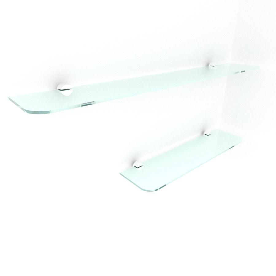 kit com 2 Prateleira de vidro temperado para escritorio 1 de 40(C)x8(P)cm 1 de 60(C)x8(P)cm
