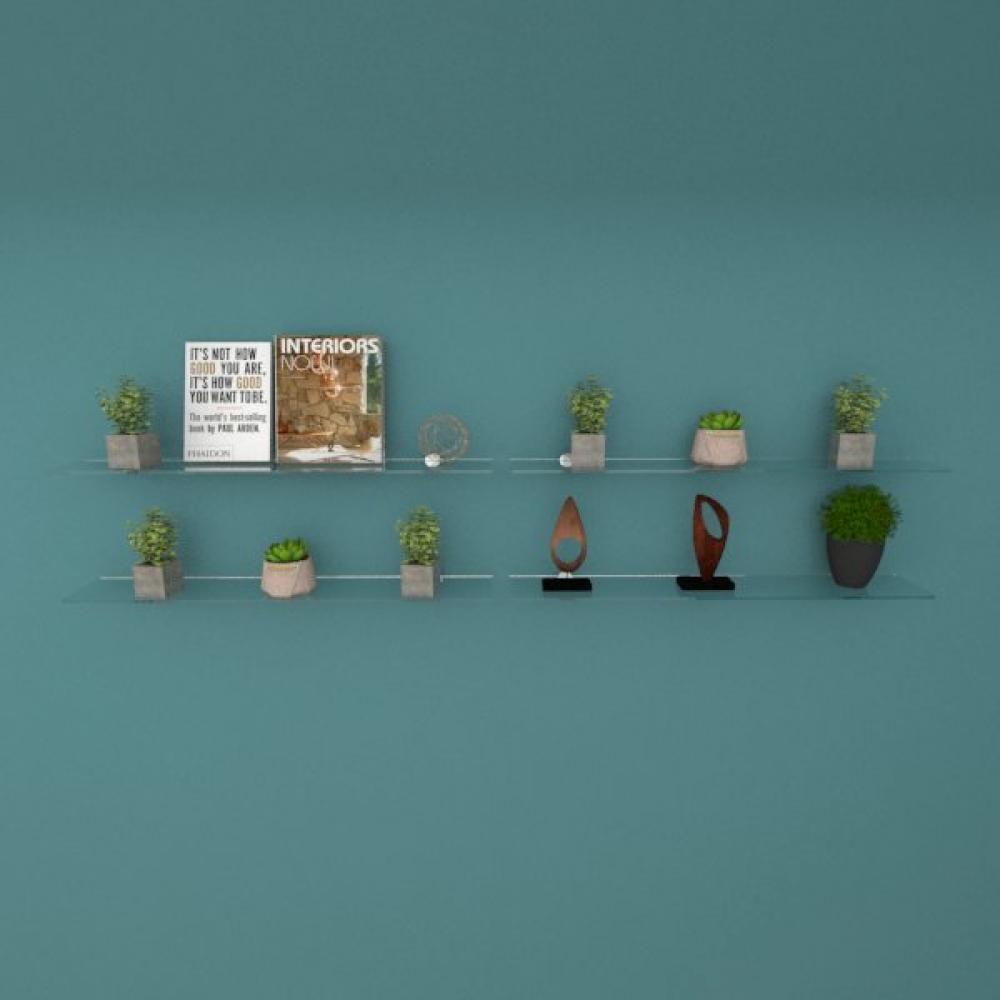 Kit com quatro Prateleira para sala 50 cm vidro temperado