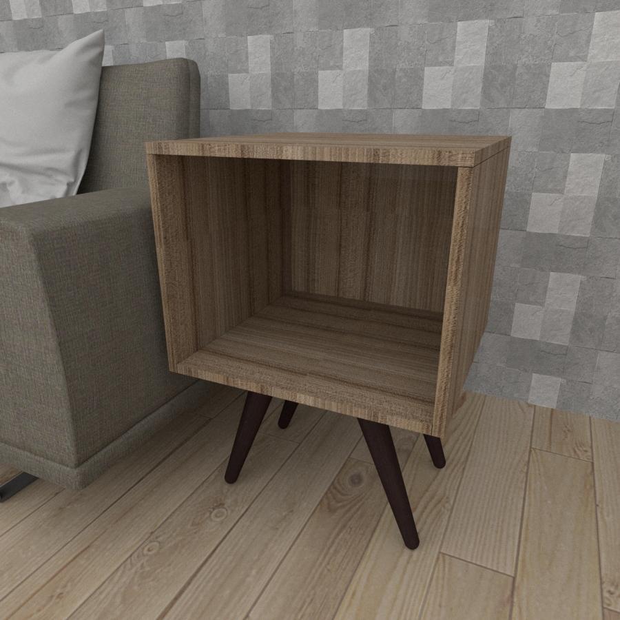 Mesa lateral moderna em mdf amadeirado escuro com 4 pés inclinados em madeira maciça cor tabaco