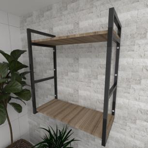 Prateleira industrial para Sala aço preto prateleiras 30 cm cor amadeirado escuro modelo ind10aesl