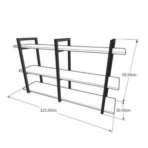 Mini estante industrial para sala aço cor preto mdf 30 cm cor amadeirado claro modelo ind12aceps
