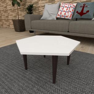 Mesa de Centro hexagonal em mdf branco com 4 pés retos em madeira maciça cor tabaco
