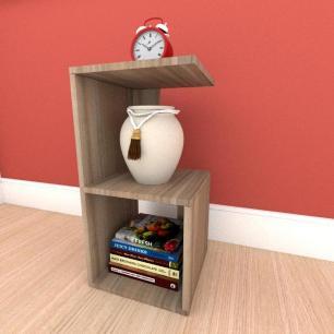 Mesa de Cabeceira formato S simples em mdf Amadeirado