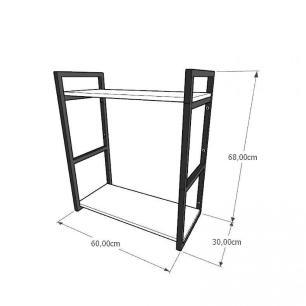 Prateleira industrial para lavanderia aço cor preto mdf 30cm cor amadeirado escuro modelo ind10aelav