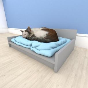 bercinho para Gato em mdf Cinza