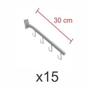 Kit com 15 ganchos rt para bolsas e cintos branco de 30 cm para painel canaletado