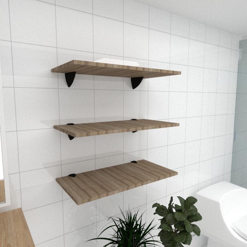 Kit 3 prateleiras para banheiro em MDF suporte tucano amadeirado escuro 60x30cm modelo pratbname06