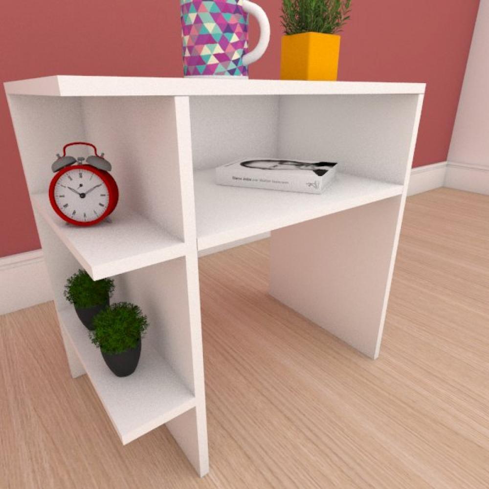 Mesa de cabeceira com prateleiras laterais em mdf branco