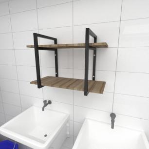 Prateleira industrial para lavanderia aço preto mdf 30cm cor amadeirado escuro modelo ind02aelav