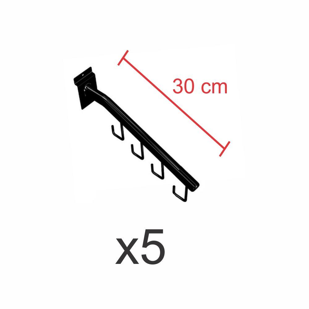 kit para expositor com 5 ganchos rt para bolsas e cintos preto de 30 cm para painel canaletado