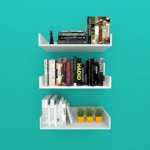 Estante de Livros nichos modernos, em mdf cinza com branco