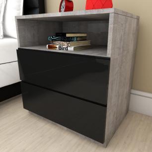 Mesa de cabeceira moderna preto com rustico