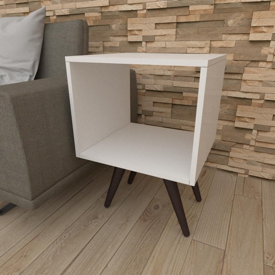 Mesa lateral nicho em mdf branco com 4 pés inclinados em madeira maciça cor tabaco