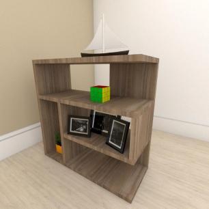 Mesa de Cabeceira moderna com nicho em mdf Amadeirado