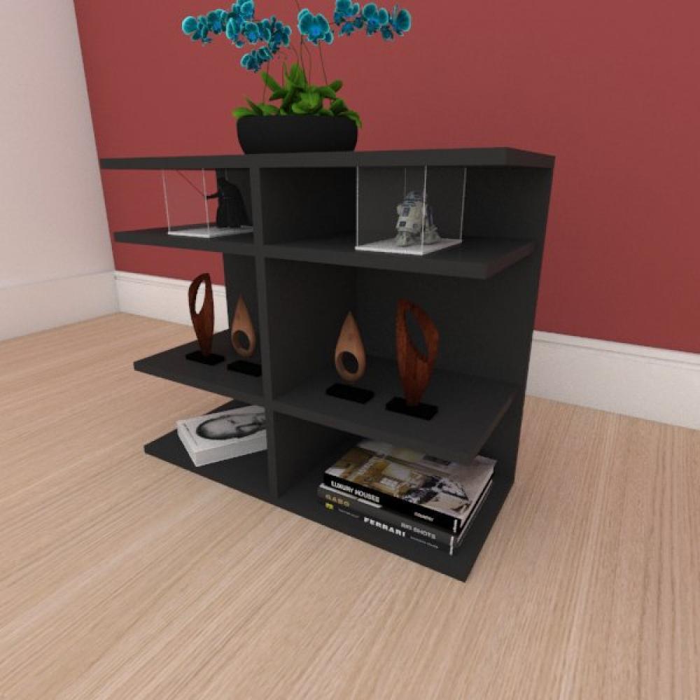 Kit com 2 Mesa de cabeceira minimalista com divisor em mdf preto