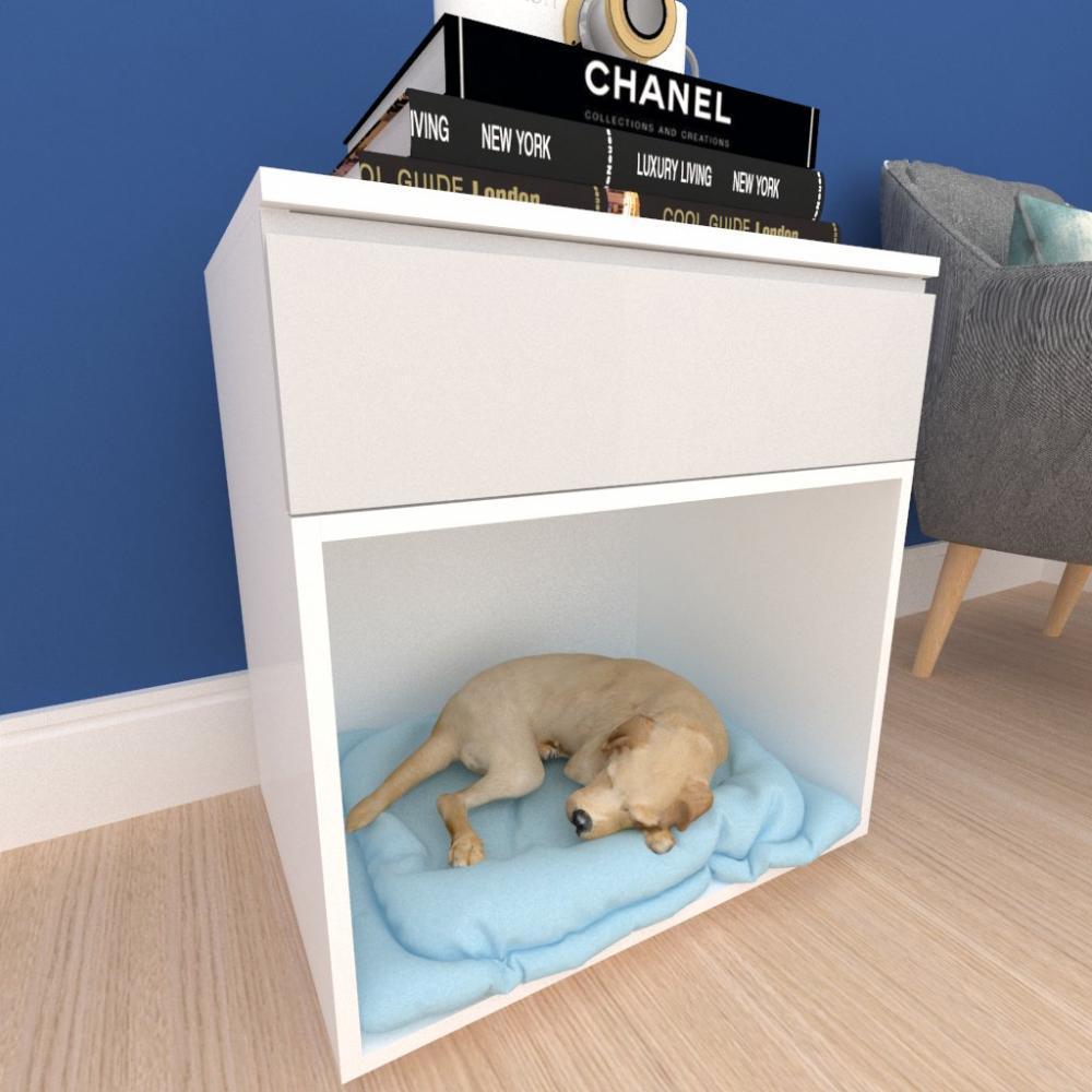 Casinha caminha cão com gaveta mdf branco com cinza