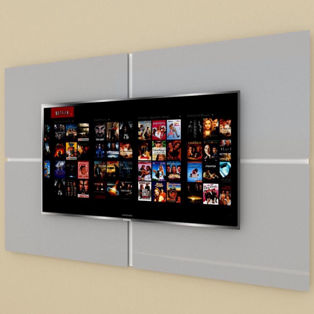 Painel Tv pequeno moderno cinza com branco