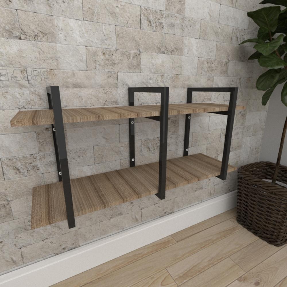 Mini estante industrial para escritório aço cor preto mdf 30cm cor amadeirado escuro mod ind23aeep