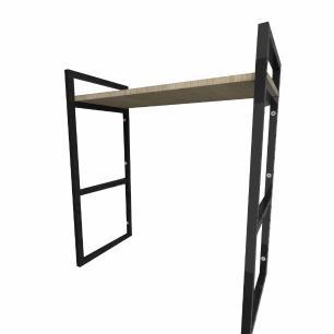 Prateleira industrial aço cor preto 30 cm MDF cor amadeirado claro modelo indfb15acsl